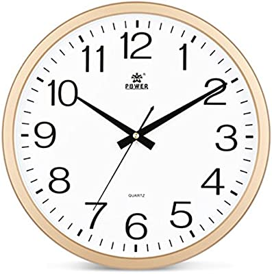 CLOCKZHJI Wall Clock, Silent Non Ticking Quality Quartz Battery Operated 14 Inch/35.5 Cm