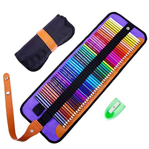 Buntstifte Set,Rock Ninja 50 Lebendige Farben Bleistift Set mit Premium Black Rollbaren Canvas Tasche für Künstler, Kinder & Erwachsene, nach DIN EN71, mit Anspitzer