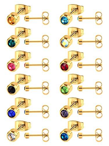 12 Pares de Pendientes de Perno de Acero Inoxidable Piercing de Arete de Zirconia Cúbica para Hombres y Mujeres, 12 Colores