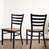 KARMAS PRODUCT Fully Assembled Stackable Metal Dining Chairs with Solid Wooden Seat, Kitchen Restaurant Bistro Cafe Side Chairs,Set of 2,Black