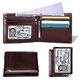Mens Wallet RFID Genuine Leather Slim Bifold...