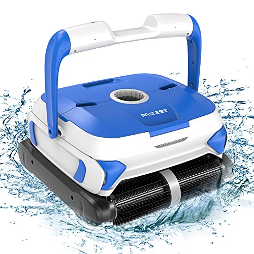 PAXCESS Wall-Climbing Automatic Pool Cleaner with Twin Large 180um Filter Basket, Tangle-Free Cord Up to 50 Feet, Robotic Pool Cleaner,Do Intelligent Cleaning, Suit for Above/In-ground Swimming Pool