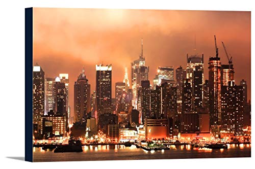 New York City - HDR Image of the Midtown Manhattan Skyline at Night A-9013209 (36x22 1/2 Gallery Wrapped Stretched Canvas)