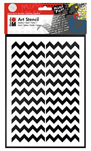 Marabu 0285000000002 - Art Stencil, Motivschablone für effektvolles Schablonieren auf Papier, Keilrahmen, Holz und Textilien, PVC - frei, lasergeschnitten, wiederverwendbar, DIN A4, Chevron Pattern
