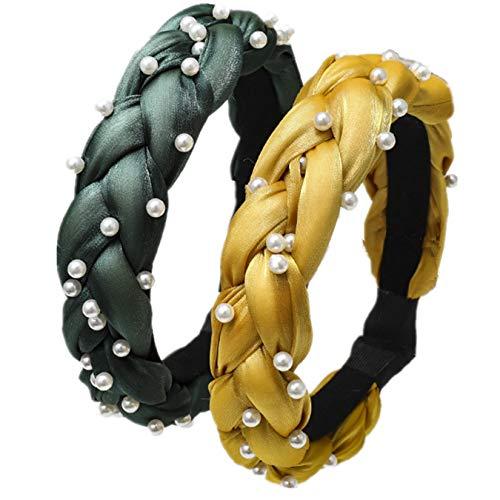 INS Hot DIY Cuhair Lot de 2 tresses torsadées avec serre-tête en perles pour femmes et filles
