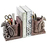 MyGift Dragon Guard Castle Decorative Resin Bookends/Pencil Holders