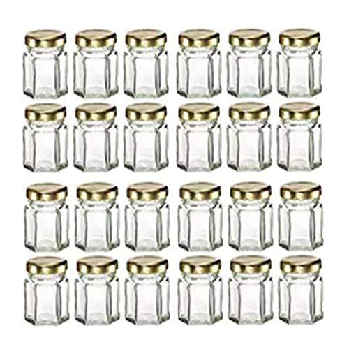 Mydio 24 Pack 1.5 Ounce Zeshoek glazen potten met gouden Plastisol gevoerde deksels voor Jam, Honing, Bruiloft gunsten, Douche gunsten, Baby Foods, DIY Magnetische Spice Jars