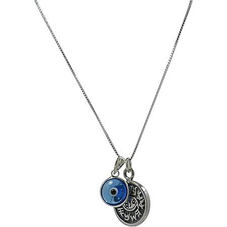 Mizze Made for Luck - Collana unisex con occhio di vetro e sigillo di Re Salomone, contro il malocchio, in argento Sterling