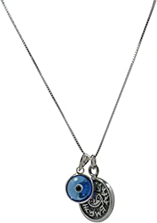Unisex Evil Eye Charm & Protection Solomon Seal 925 Sterling Silver Necklace