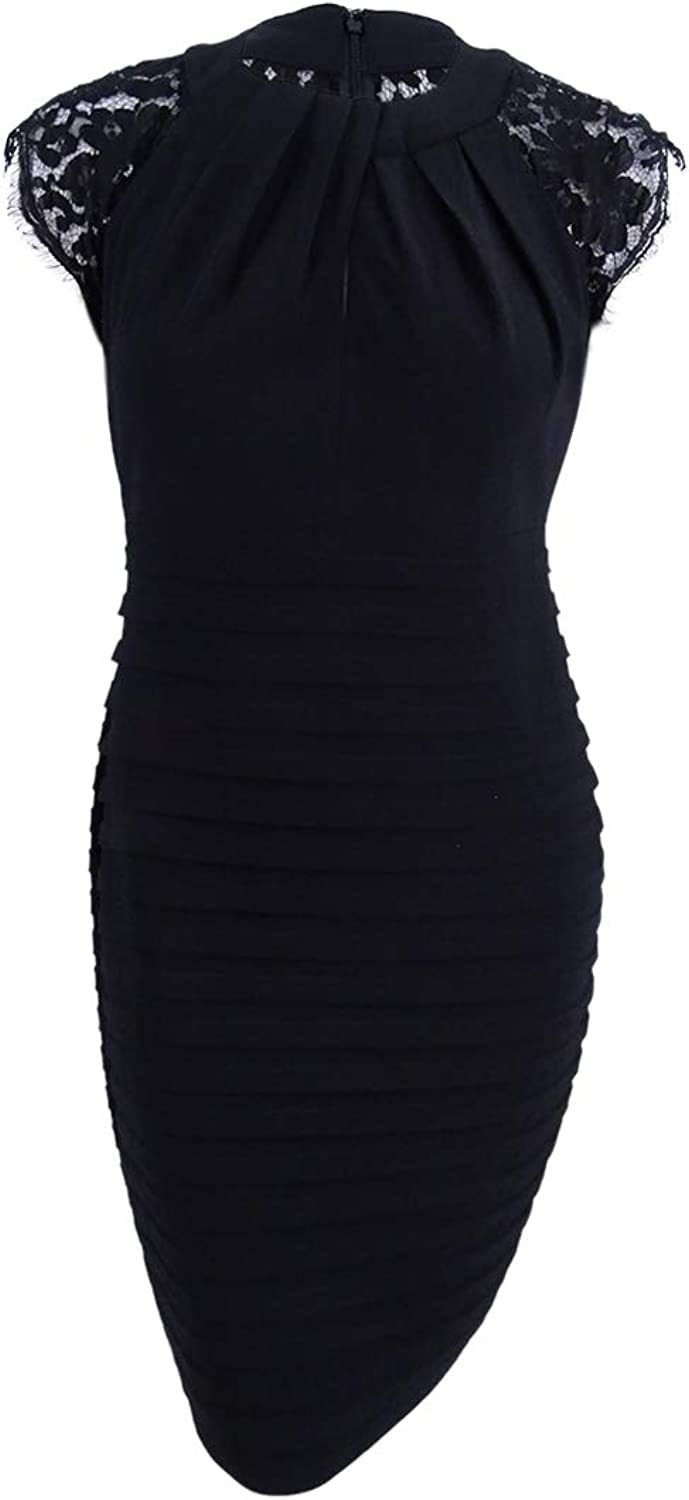 Betsy & Adam Womens Plus Shutter Pleat Lace Inset Special Occasion Dress