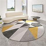 WJW-DT Alfombra geométrica de Estilo Simple Moderno, alfombras Redondas Grises Amarillas de Gran área para Sala de Estar, Cocina, alfombras Modernas para entrada-120 CM-47 Pulgadas