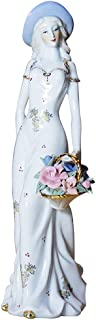 Bitopbi Ceramic Beautiful Girl Noble Lady Figurine Porcelain Statue Ornament with Flower Baskets Spring Stroll Modern Women Figures Collectible Top Collection Decorative Sculpture (4# White)