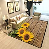 Sunflower Decor Collection Chair mat for Carpet Three Sunflowers on The Wood Background at Top Left Corner Decorative Picture Print European and American Fashion Carpet Beige Yellow W4xL5 Feet