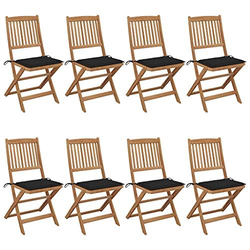 vidaXL 8X Madera Maciza Acacia Sillas de Jardín Plegables y Cojines Sillón Exterior Terraza Balcón Patio Asiento Butaca Muebles Mobiliario Duradera