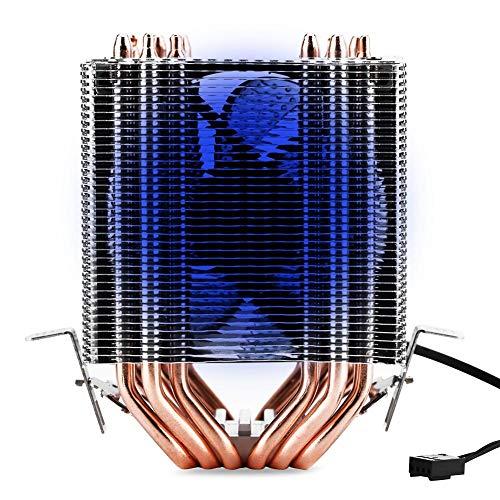 Bewinner Dissipatore CPU per AMD, per Intel - 20000H Controllo della Temperatura CPU Cooler Silenzioso con Ventola di Raffreddamento a Doppia Torre per Intel 775, 1150, 1151, 1155, 1156, 1366(Blu)