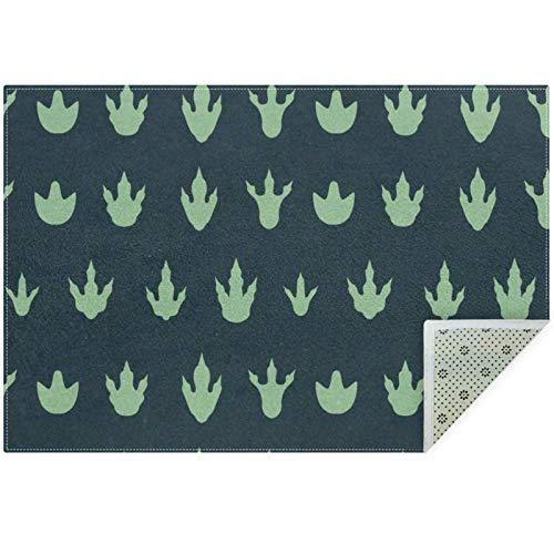 Bennigiry Lindo patrón de huella de dinosaurio, alfombra para sala de estar, dormitorio, sala de juegos, 60 x 39 pulgadas