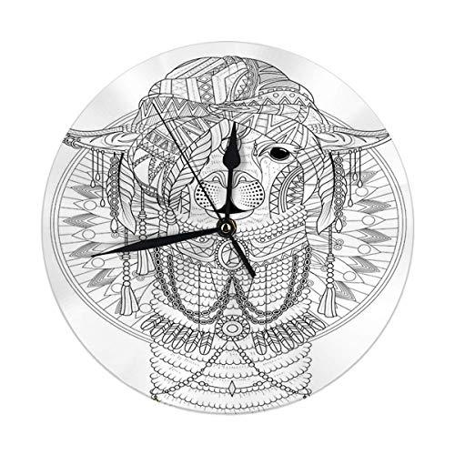 Dekorative Wanduhr Big Adult Malvorlagen Alpaka mit herrlicher Kopfbedeckung Runde Uhr