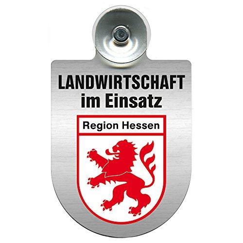 Einsatzschild für Windschutzscheibe incl. Saugnapf - Landwirtschaft im Einsatz - Wappen nach Wahl - 309460 Farbe Region Hessen