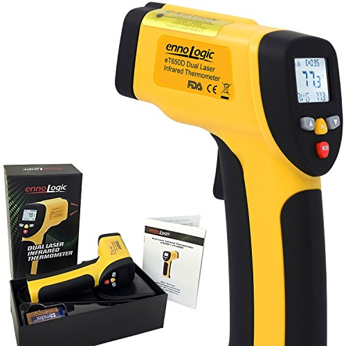 ennoLogic Temperature Gun (NOT for Human) - Accurate High Temperature Dual Laser Infrared Thermometer -58°F to 1202°F - Digital Surface IR Thermometer eT650D - w/NIST Certificate