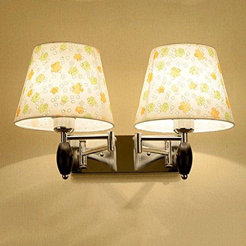 Modern Swing-Arm Wall Lamp E27 Cloth Lamp-Shade 2 Head Wall Sconce
