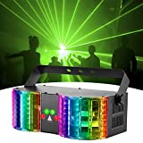 Stage Lights Sound Activated RGBW LED DJ Lights Mixed Beam Lights Effects with Remote Control DMX 512 Controllable Party Lights for Wedding Birthday Dance Party (black)