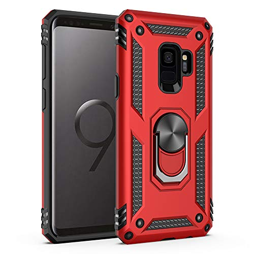 Military Grade Drop Impact for Samsung Galaxy S9 Case 360 Metal Rotating Ring Kickstand Holder Magnetic Car Mount Armor Heavy Duty Shockproof Cover for Galaxy S9 Phone Protection Case (Red)