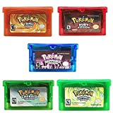 5 Pcs Pokemon Emerald Ruby Sapphire Fire Red Leaf Green GBA Game Cards Gameboy Cartridge For NDS GBA SP