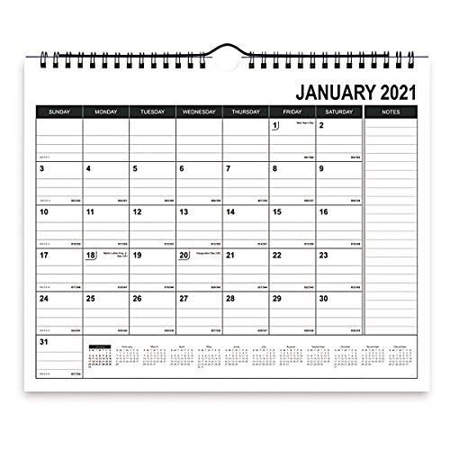 Calendario mensual de escritorio de papel con calendario 2020, calendario de pared para la escuela académica, la oficina en casa, bloques de rayas y notas, fecha de juliana, desgarro