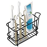 Toothbrush Toothpaste and Cup Holder, Stainless Steel Electronic Toothbrush Holder Wall-Mounted for Bathroom Shower, Black