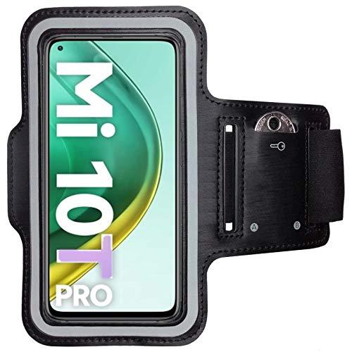 CoverKingz Sportarmband für Xiaomi Mi 10T / Mi 10T Pro - Armtasche mit Schlüsselfach Mi 10T / Mi 10T Pro - Sport Laufarmband Handy Armband Schwarz