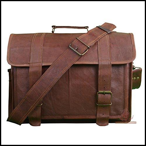 Laptop Messenger Satchel 18' Shoulder Bag Briefcase Handmade Vintage Brown Leather Office Bag Crossbody College Bag