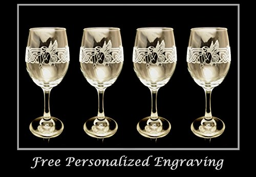 Celtic Fairy Clear Wine Glass Set of 4 - Free Personalized Engraving