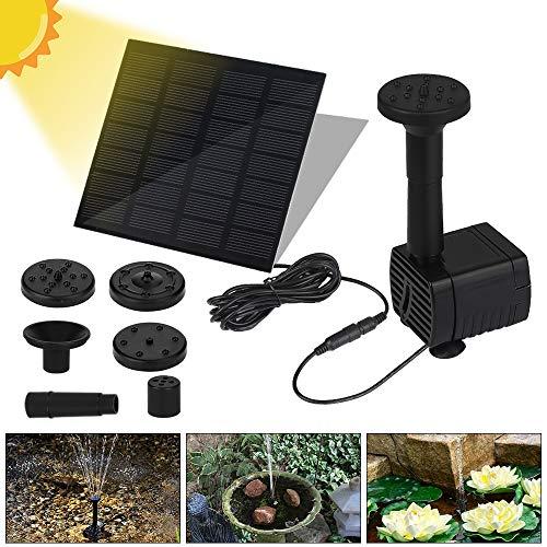 Vivibel Solar Springbrunne Teichpumpe Brunnen Solarpumpe Fontäne für Gartenteiche Fisch-Behälter Garten Solarbrunnenpumpe Wasserspiel eingebaute Solar Panel Batterie, Wasserkreislauf-1