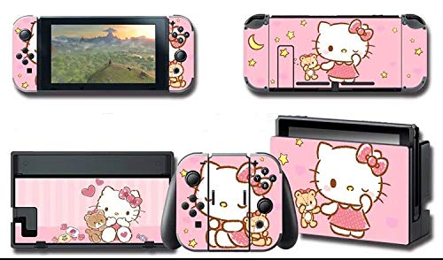 Alvhntr hello kitty Vinyl Skin Decal Stickers for Nintendo Switch, Anime Protector Wrap Cover Protective Faceplate Full Set Console Joy-Con Dock (hello kitty 2557)