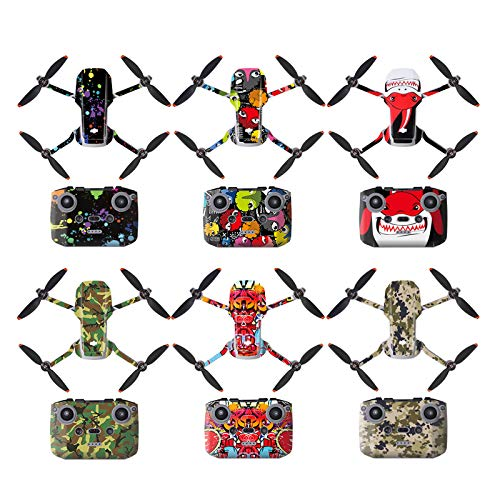 DJFEI Schutzfolie Aufkleber Kit für DJI Mini 2, DIY wasserdichte Aufkleber Skins Wrap Aufkleber Protector für DJI Mavic Mini 2 Drone und Fernbedienung (A)
