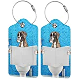 neil Banek Boxer Dog Sitting on a Toilet seat 2 Pcs Leather Luggage Tag, Suitcase ID Label Baggage Bag with Privacy Cover Gifts for Travelers