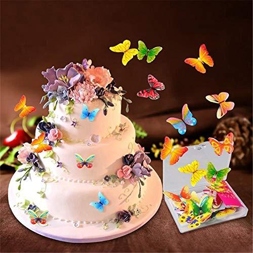 FYBlossom - 100 adornos comestibles para tartas y postres, diseño de mariposas y flores
