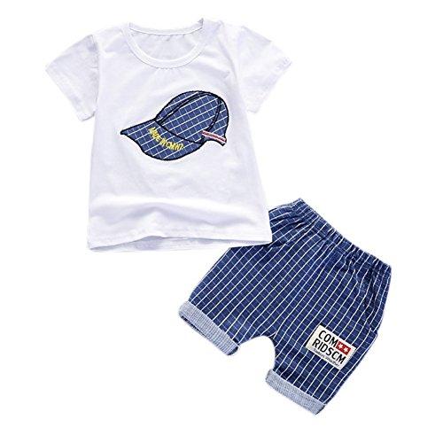 Blaward Baby Jungen Outfits Sommer Kleidung Sets Cap Druck T-Shirt und Short Plaid Hosen 0-4Jahre