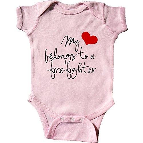 inktastic My Heart Belongs Firefighter Infant Creeper 6 Months Pink 5247