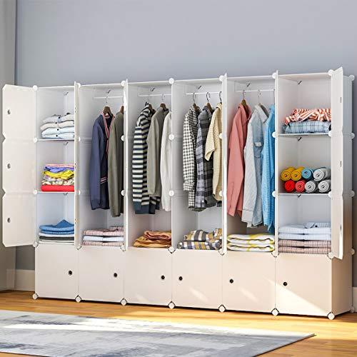 "JYYG Portable Wardrobe Closets 14""x18"" Depth Bedroom Armoire, Clothes Storage Organizer, 24 Cubes, White"