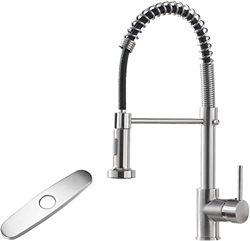 2021 OWOFAN Kitchen Faucet with Pull Down Sprayer Low Lead Single Handle Spring Kitchen sale Sink Faucet, Brushed Nickel Kitchen outlet sale Faucet 866081SN … outlet online sale