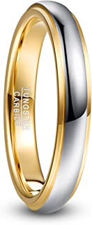 NUNCAD Gold&Silver Tungsten Carbide Ring for Women Men 4mm/6mm Couples Wedding Engagement Band Polished Finish Comfort Fit Size N½ to X½