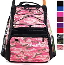 Athletico Baseball Bat Bag - Backpack for Baseball, T-Ball & Softball Equipment & Gear for Youth and Adults | Holds Bat, Helmet, Glove, Shoes |Shoe Compartment & Fence Hook (Pink Camo)
