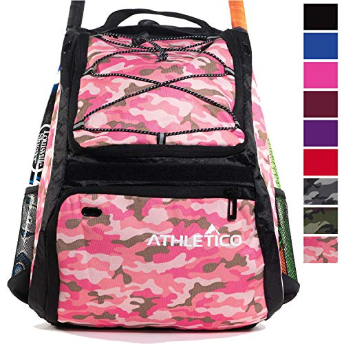 Athletico Baseball Bat Bag - Backpack for Baseball, T-Ball & Softball Equipment & Gear for Youth and Adults | Holds Bat, Helmet, Glove, & Shoes |Shoe Compartment & Fence Hook (Pink Camo)