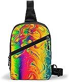 Bolsa de hombro con diseño de arco iris, color fluido, para llevar al aire libre, senderismo, viajes, bolsa de bolsillo personal para mujeres, hombres, resistencia al agua