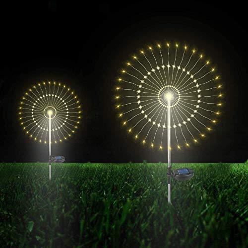 Solarleuchte Garten, 105 LED Solar Feuerwerk Licht, DIY Draussen Landschaft Licht Wetterfest Dekoratives für Garten Rasen Feld Terrasse Weg (Warmweiß, 2 Pack) …