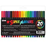Super Markers 20 Color Premium Fabric & T-Shirt Marker Set with Our Unique Fine tip Bullet Point Tip - 100%...