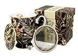 Duo Collezione Secret Garden, tazza da tè da 325 ml, con infusore e coperchio Yucca in porcellana New Bone China in confezione regalo, tazza da tè 3 pezzi con colino, tazza con filtro