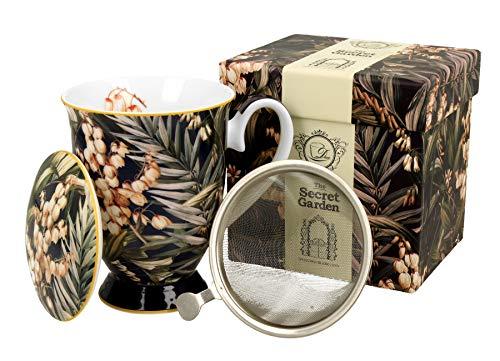 Duo Secret Garden - Juego de tazas de té (325 ml, con infusor y tapa, porcelana china, en caja de regalo), diseño de Yucca