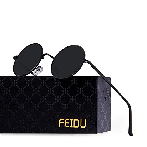 e4c38728e879b FEIDU Retro Polarized Round Sunglasses for Men Vintage Sunglasses Women  FD3013